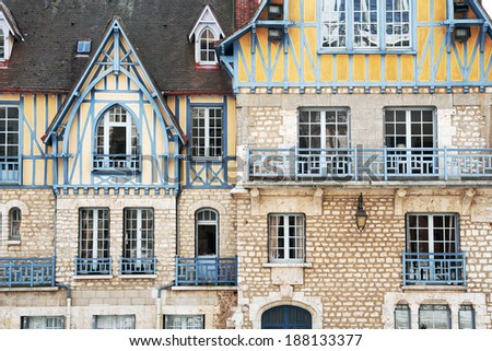 Beautiful house in historic part of Chartres, France - stock photo