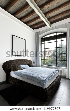 beautiful house, interior, view of the bedroom - stock photo