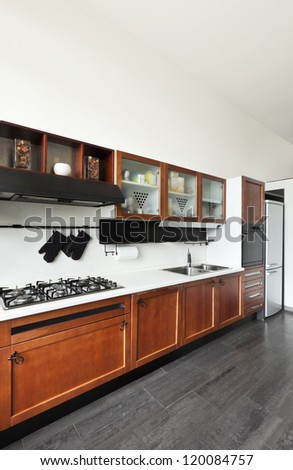 beautiful house, interior, view of the kitchen - stock photo