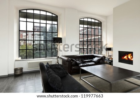 beautiful house, interior, view of the living room - stock photo