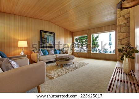 Beautiful house interior with wooden plank trim and rock background fireplace. Cozy interior with couch and soft fur rug - stock photo