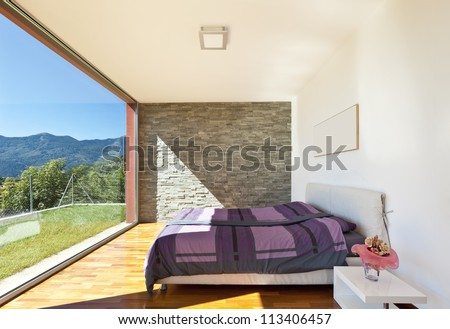 beautiful house, modern style, bedroom view - stock photo