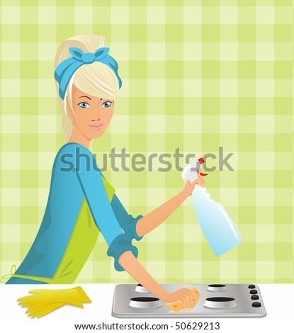 beautiful housewife washing the gas stove by means of a miracle - stock photo