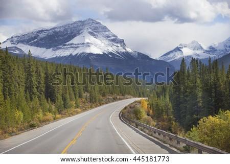 Beautiful Ice Field Highway through Jasper National Park, Canada - stock photo