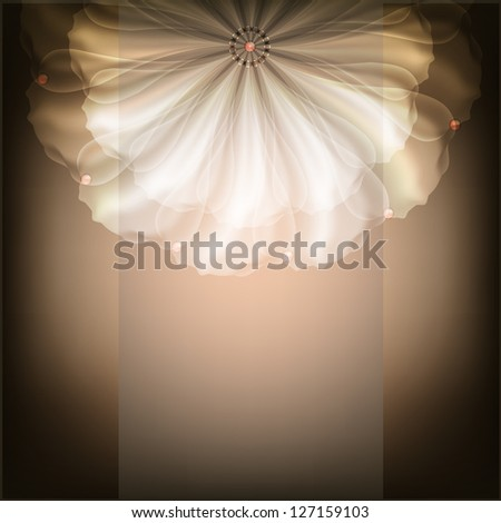 Beautiful illustration with white flower. Raster copy of vector image - stock photo