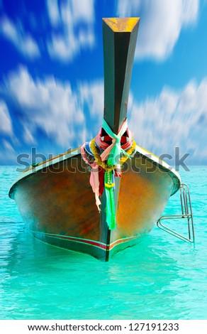 Beautiful image Longtail boat on the sea tropical beach. Andaman Sea, Thailand - stock photo