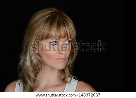 Beautiful Image of a Glamour woman on Black - stock photo