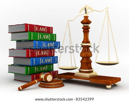 beautiful image of judicial attributes on a white background - stock photo