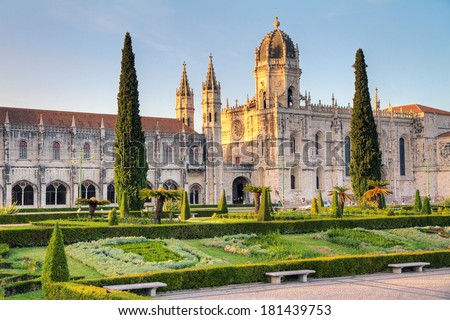 Beautiful image of the Hieronymites Monastery (Jeronimos), a UNESCO world heritage site, in Lisbon, Portugal. HDR - stock photo