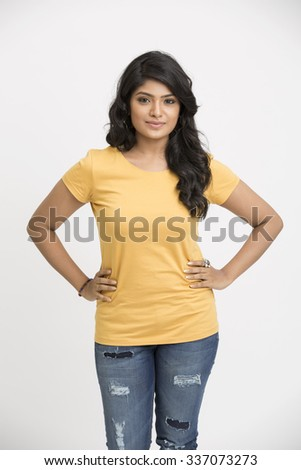 Beautiful indian model posing isolated on white - stock photo