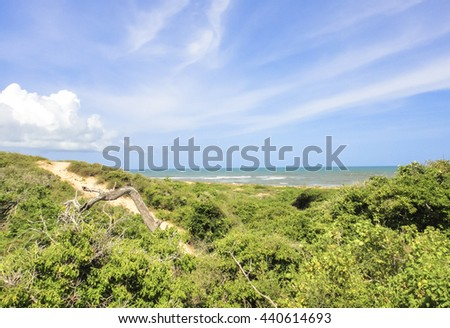 Beautiful Indian ocean wild shore near Lamu town in Kenya about 90 kilometers to the south along the coast from the border with Somalia. Eastern Africa - stock photo