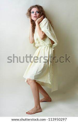 beautiful insane psycho girl scared, something - stock photo