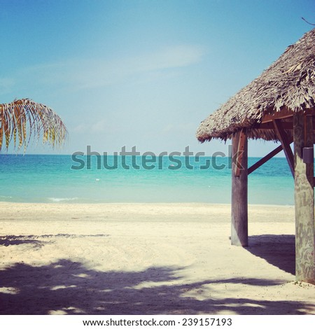 beautiful instagram of sandy tropical beach and ocean - stock photo