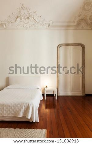 beautiful interior of hotel, view classic bedroom  - stock photo
