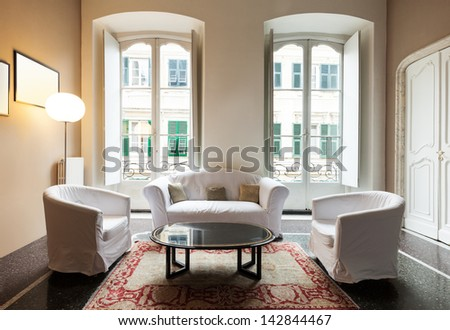 beautiful interior of hotel, view living room - stock photo