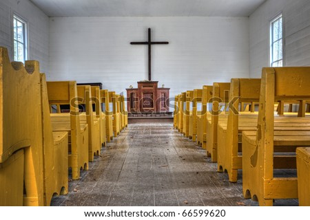 Beautiful interior of little country church in the Great Smoky Mountains National Park - stock photo