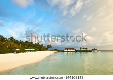 Beautiful island beach at Maldives - stock photo