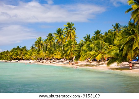 Beautiful island beach. Saona Island, Dominican republic. - stock photo