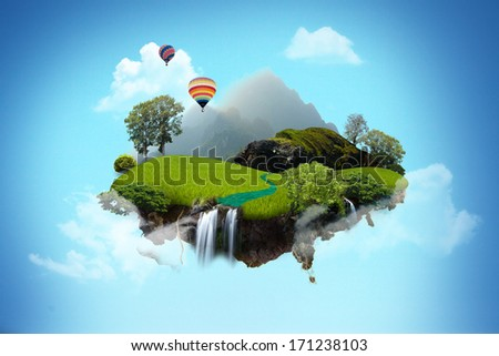 Beautiful island floating on sky. - stock photo