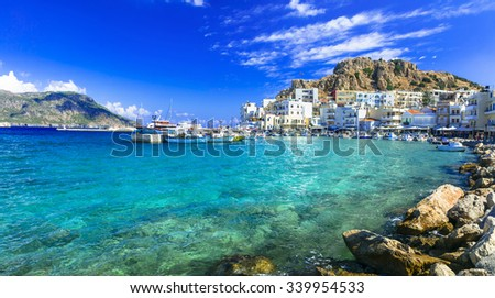 beautiful islands of Greece - Karpathos with pictorial capital Pigadia - stock photo