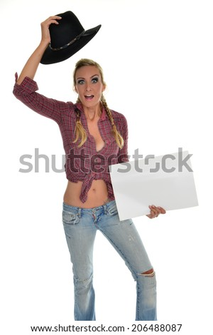 beautiful isolated cowgirl holding a shield - stock photo