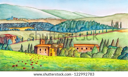 Beautiful italian country landscape, painted in watercolor. Original illustration. - stock photo
