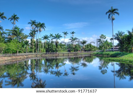 Beautiful Jamaican landscape with lake and palms - stock photo