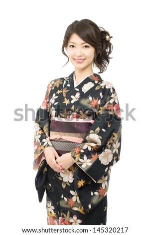 Beautiful japanese kimono woman isolated on white background - stock photo