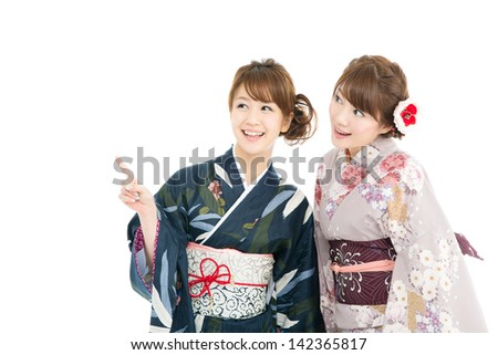 Beautiful japanese kimono women isolated on white background - stock photo
