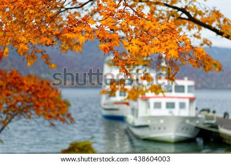Beautiful Japanese maple leaves and sightseeing boats in the blurred background on magnificent Lake Towada in autumn season, in Towada Hachimantai National Park, Aomori, Japan  - stock photo