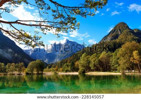 Beautiful Jasna lake at Kranjska Gora in Slovenia - stock photo