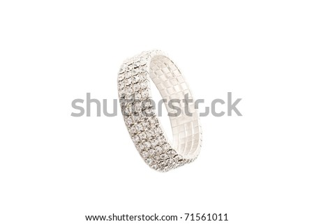 beautiful jewelry bracelet with lots of stones isolated on white background - stock photo