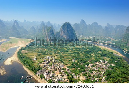 Beautiful Karst mountain landscape in Yangshuo Guilin, China - stock photo