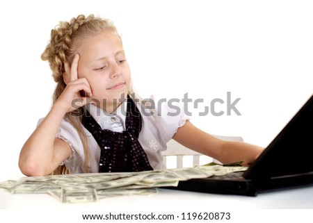 Beautiful kid in the room on a white background - stock photo