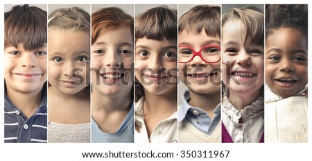 Beautiful kids' smiles - stock photo