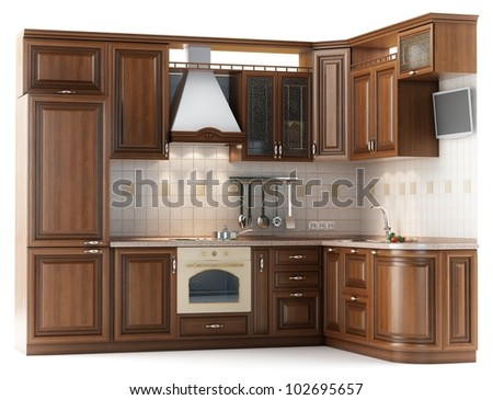 Beautiful kitchen furniture made of wood in the studio lighting isolated on white - stock photo