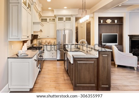 Beautiful Kitchen in New Home - stock photo