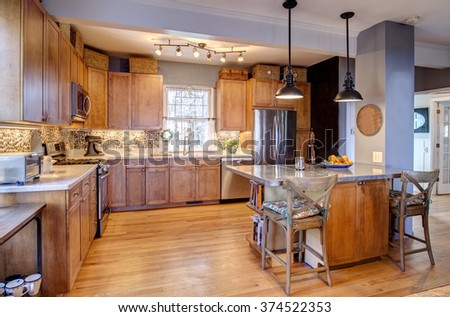 Beautiful kitchen remodel in eclectic style - stock photo