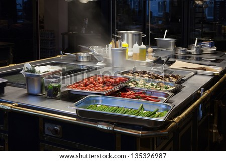 Beautiful kitchen restaurant with delicious food. - stock photo
