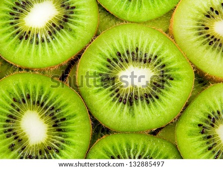 beautiful kiwi fruit slices background - stock photo