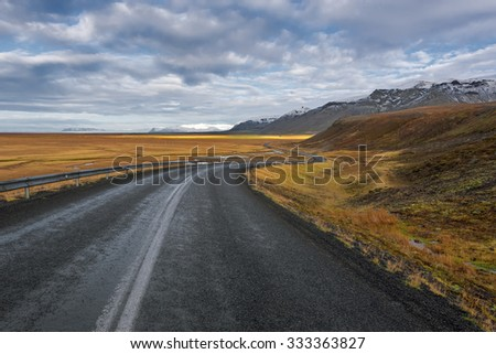 Beautiful ladnscape of highway at Iceland - stock photo