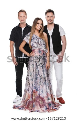 Beautiful lady and two men posing on camera. Standing together full length isolated over white background  - stock photo