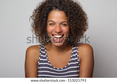 Beautiful lady with funny faces - stock photo