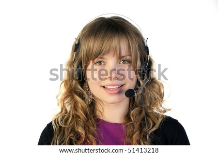 Beautiful lady with headphones and microphone - stock photo