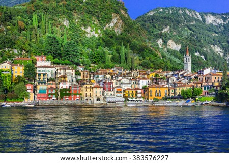 beautiful  Lago di Como - pictorial Varenna vilage - stock photo
