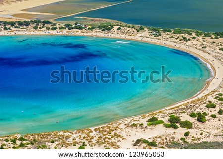 Beautiful lagoon of Voidokilia from a high point of view - stock photo
