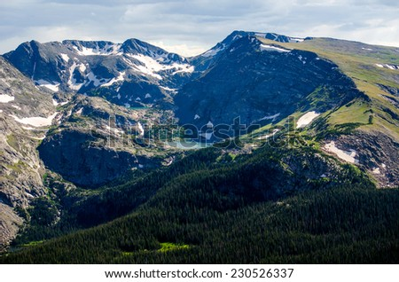 beautiful lake at the top of a mountain in rocky mountain park - stock photo