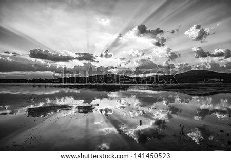Beautiful lake black and white - stock photo