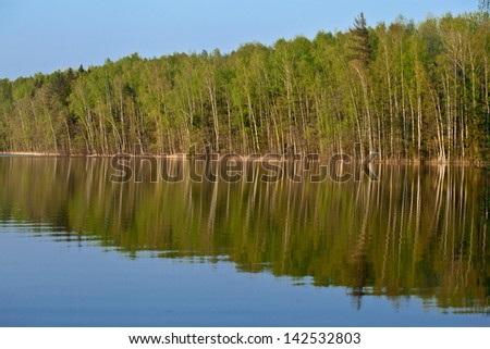 Beautiful lake in a wood - tranquil summer landscape - stock photo