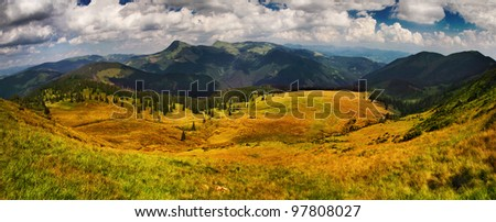 Beautiful lake in top of the mountains - stock photo